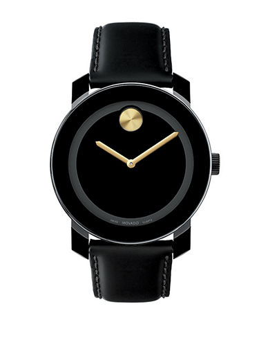 MOVADO BOLDUnisex Bold Black and Gold Leather Watch