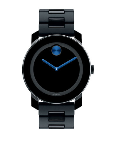 MOVADO BOLD Mens Black Stainless Steel Watch with Electric Blue Accents