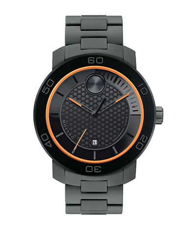MOVADO BOLD Mens Black Ion-Plated Titanium Watch with Orange Accents