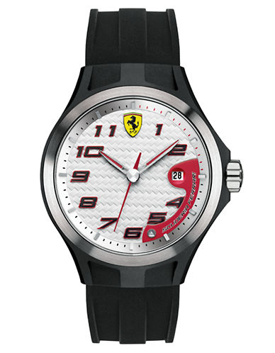 FERRARI Mens Lap Time Black Watch with White Dial