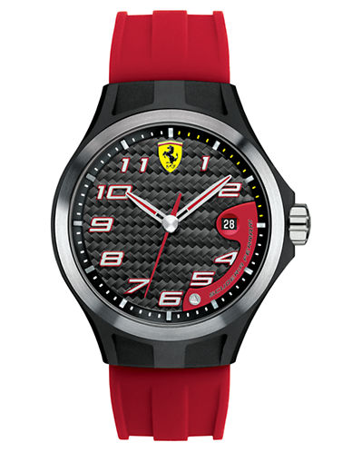 FERRARI Mens Lap Time Black and Red Watch
