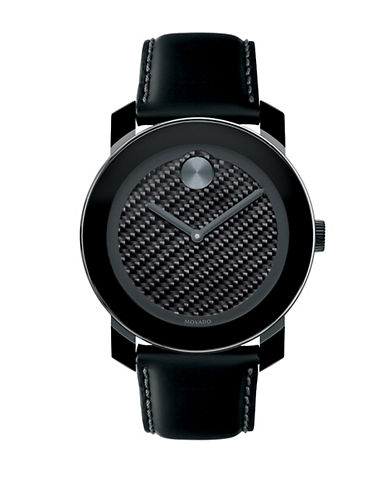 MOVADO BOLD Mens Black & Leather Large Watch