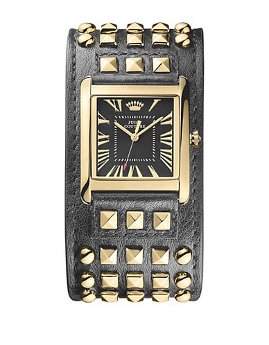 JUICY COUTURELadies Darby Gold-Tone & Studded Leather Cuff Watch