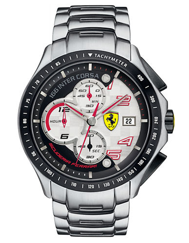 FERRARIMens Race Day Stainless Steel Chronograph Watch
