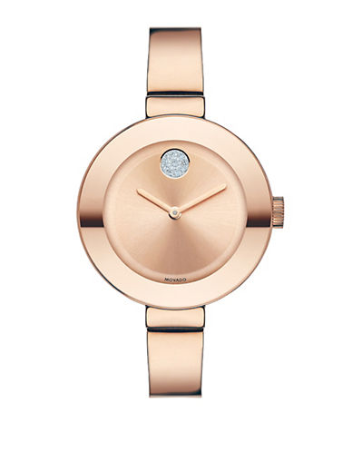 MOVADO BOLDMid-Size Stainless Steel Bangle Bracelet Watch in Rose Gold-Tone