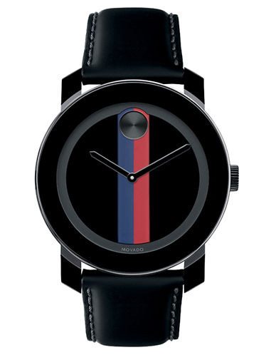 MOVADO BOLDMens Large Black Watch with Pink and Purple Print