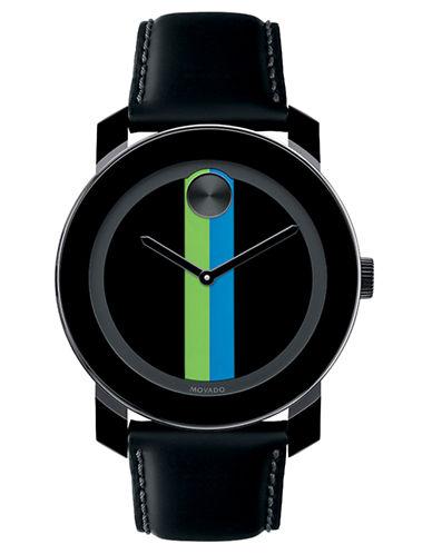 MOVADO BOLDMens Large Black Watch with Lime and Aqua Print