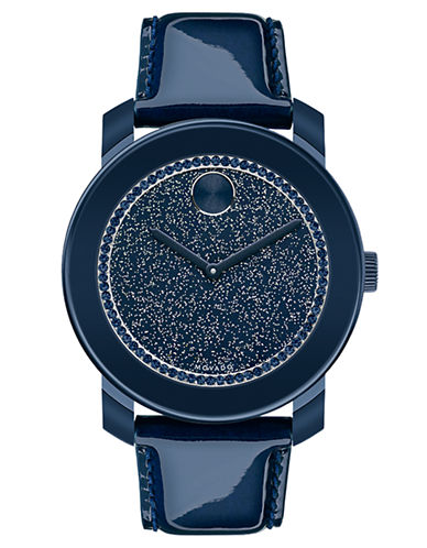 MOVADO BOLDLadies Bold Navy Glitz Watch with Patent Leather Strap