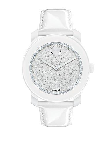 MOVADO BOLDLadies Bold White Glitz Watch with Patent Leather Strap