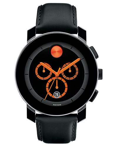 MOVADO BOLD Round Black Watch with Orange Accents