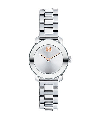 MOVADO BOLDLadies Stainless Steel Bracelet Watch with Rose Gold Tone Dot