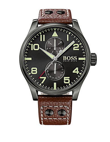 HUGO BOSS Mens Aeroliner MAXX Watch with Brown Leather Strap