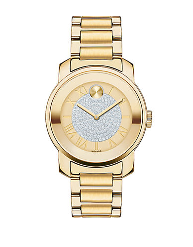 MOVADO BOLD Ladies Gold Tone Watch with Crystal Dial