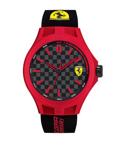 FERRARIMens Scuderia Pit Crew Red Black Silicone Strap Watch