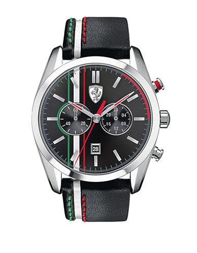 FERRARIMens Scuderia D50 Tri-Stripe Stainless Steel Black Leather Strap Watch