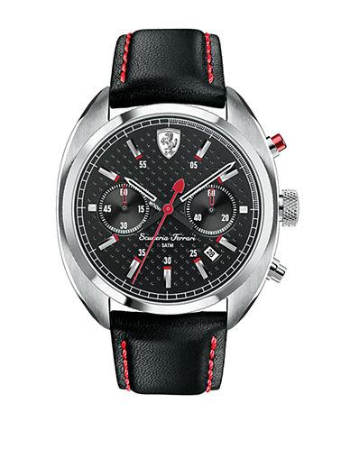 FERRARIMens Scuderia Formula Sportiva Stainless Steel Leather Strap Watch