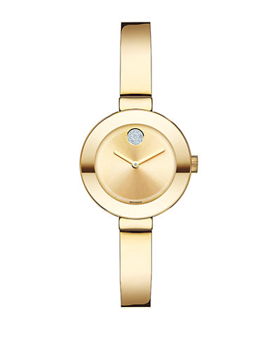 Movado Bold Ladies Small Gold-Tone and Swarovski Crystal Watch