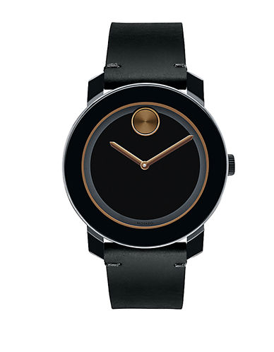 MOVADO BOLDBold Black TR90 and Stainless Steel Leather Strap Watch