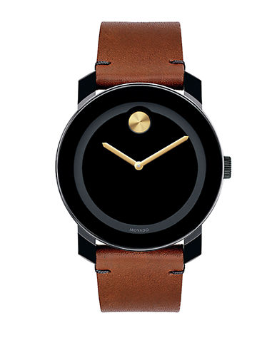 MOVADO BOLDBold Cognac Leather Strap Watch