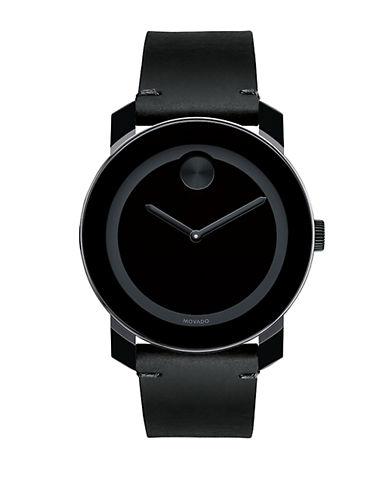 MOVADO BOLDBold Black Leather Strap Watch