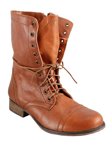 Buy Troopa Leather Lace-Up Mid-Calf Boots by Steve Madden online