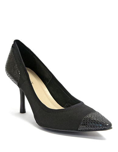 ELLEN TRACY Pari Snake-Embossed Cap Toe Pump