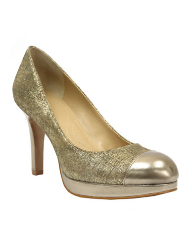 TAHARI Laura Metallic Cap Toe Pumps