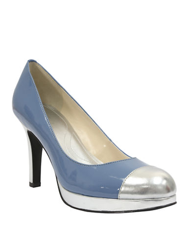 TAHARI Laura Patent Leather Cap Toe Pumps
