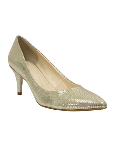 TAHARI Zoe Metallic Pointed-Toe Pumps