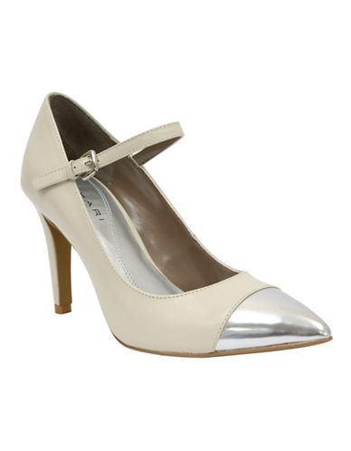 TAHARI Sabina Leather Pointed Toe Mary Jane Pumps