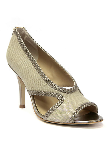 TAHARI Loretta Fabric & Metallic Leather Open-Toe Pumps