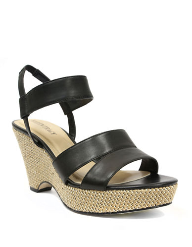 Ellen Tracy Flip Leather Wedge Sandals