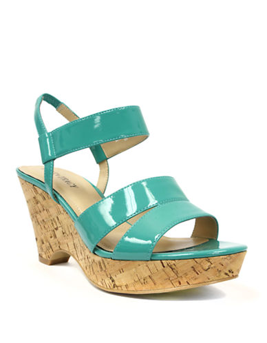 ELLEN TRACYFlip Patent Leather Wedge Sandals
