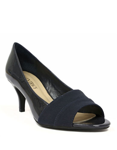 ELLEN TRACY Inna Patent Leather & Fabric Open-Toe Pumps