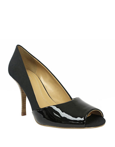 TAHARI Lyra Suede & Embossed Leather Peep Toe Pumps