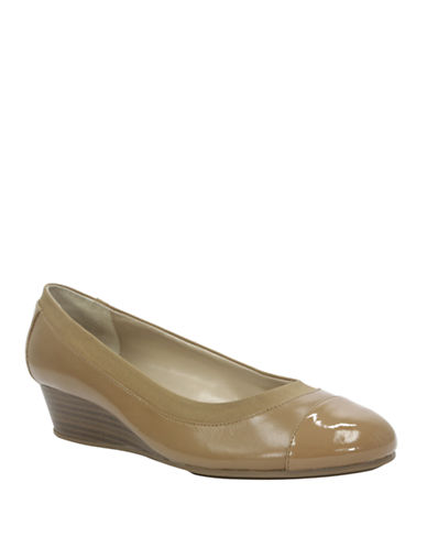 ELLEN TRACYCancan Leather and Patent Leather Wedges