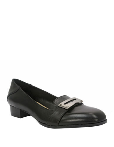 ELLEN TRACY Vanity High-Heel Leather Loafers