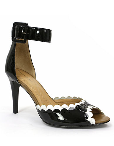 TAHARI Jules Patent Leather Scalloped Colorblock Sandals