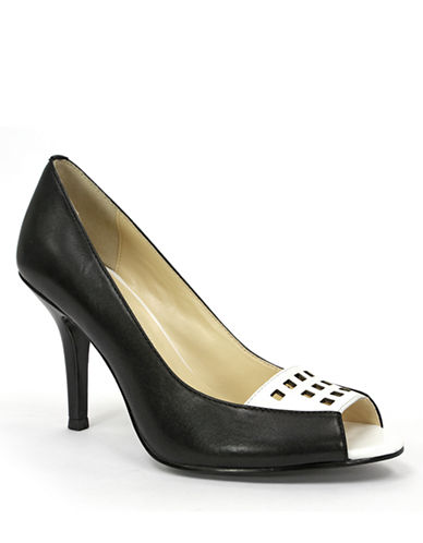 TAHARI Lianne Laser-Cut Leather Peep Toe Pumps