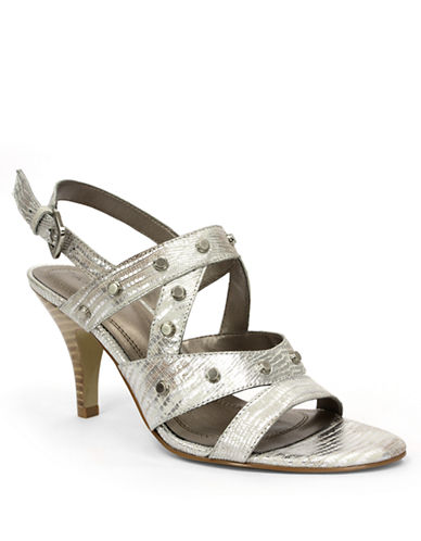 TAHARI Claire Metallic Embossed Leather Strappy Sandals