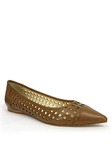 TAHARI Ethel Leather Laser-Cut Flats
