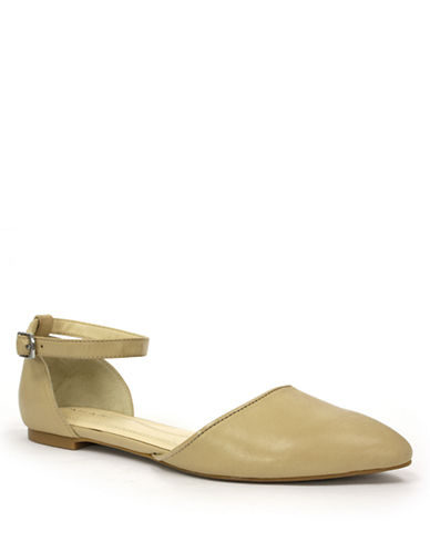 TAHARI Jessica Leather Ankle-Strap Flats