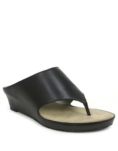 TAHARI Mindy Leather Slide Wedge Sandals