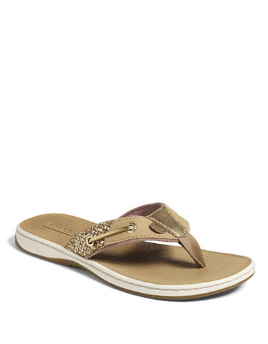 SPERRY TOP-SIDER Seafish Sequin & Canvas Thong Sandals