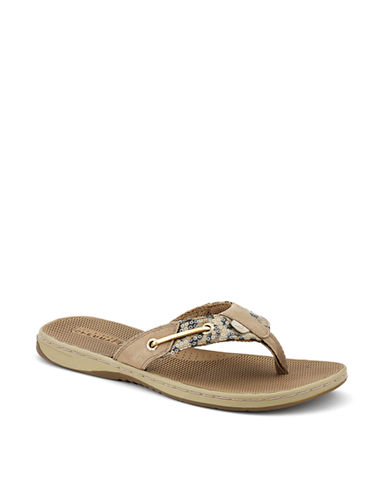 SPERRY TOP-SIDERSeafish Animal Printed Leather Thong Sandals