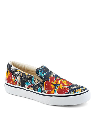 SPERRY TOP-SIDER Striper Floral Print Canvas Slip-On Sneakers