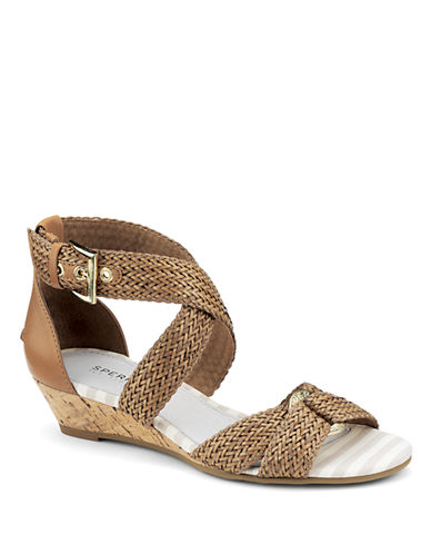 SPERRY TOP-SIDER Alvina Woven Leather Wedge Sandals
