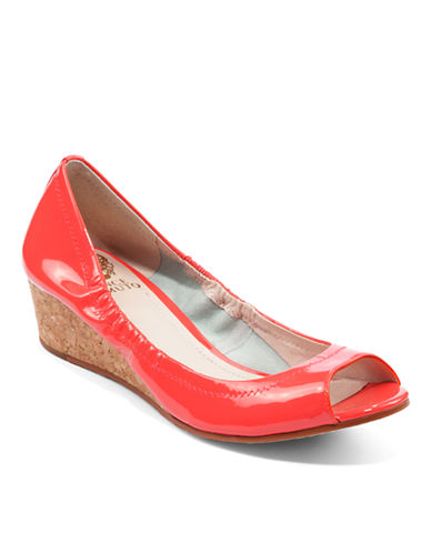 VINCE CAMUTORyssa Patent Leather Open-Toe Wedges