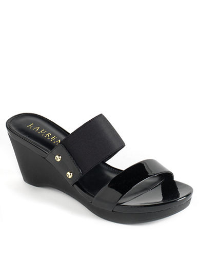 LAUREN RALPH LAUREN Rhianna Leather Platform Wedge Sandals