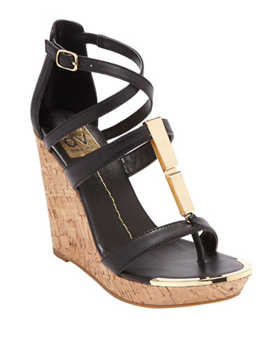 DV BY DOLCE VITA Tabby Synthetic and Leather Wedge Sandals